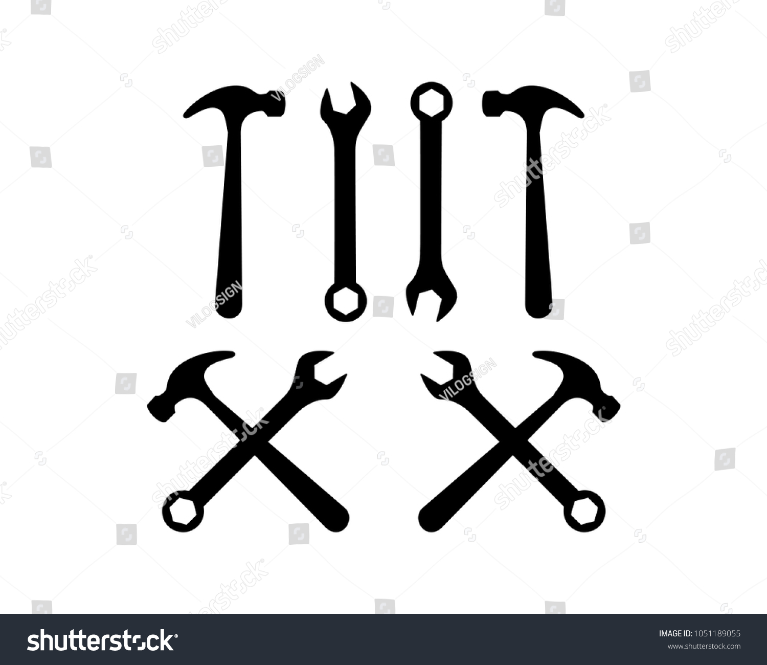 Crossed Hammer Wrench Tool Sign Symbol Stock Vector Royalty Free