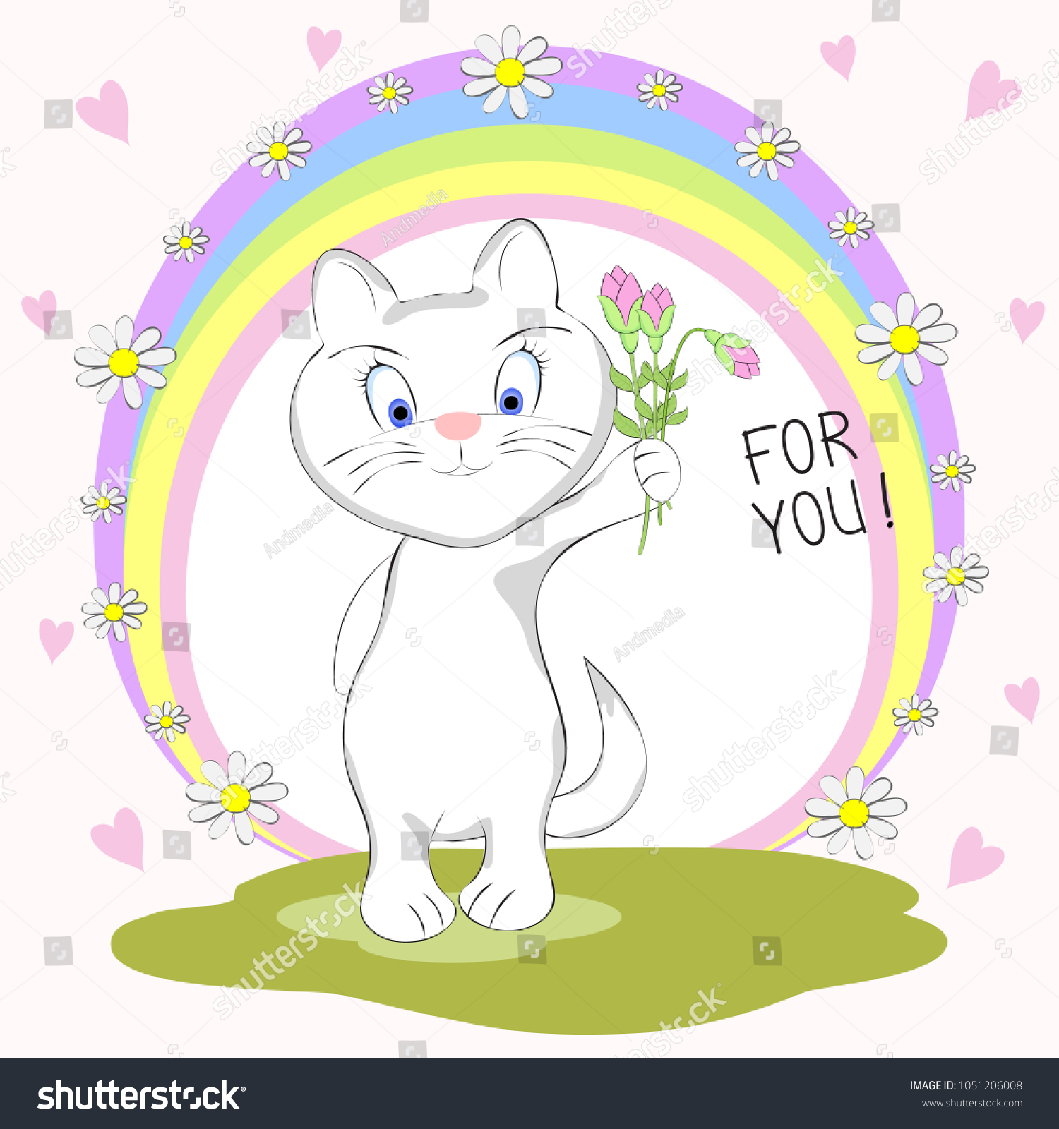 Cute Cat Bouquet Flowers Inscription You Stock Vector Royalty Free