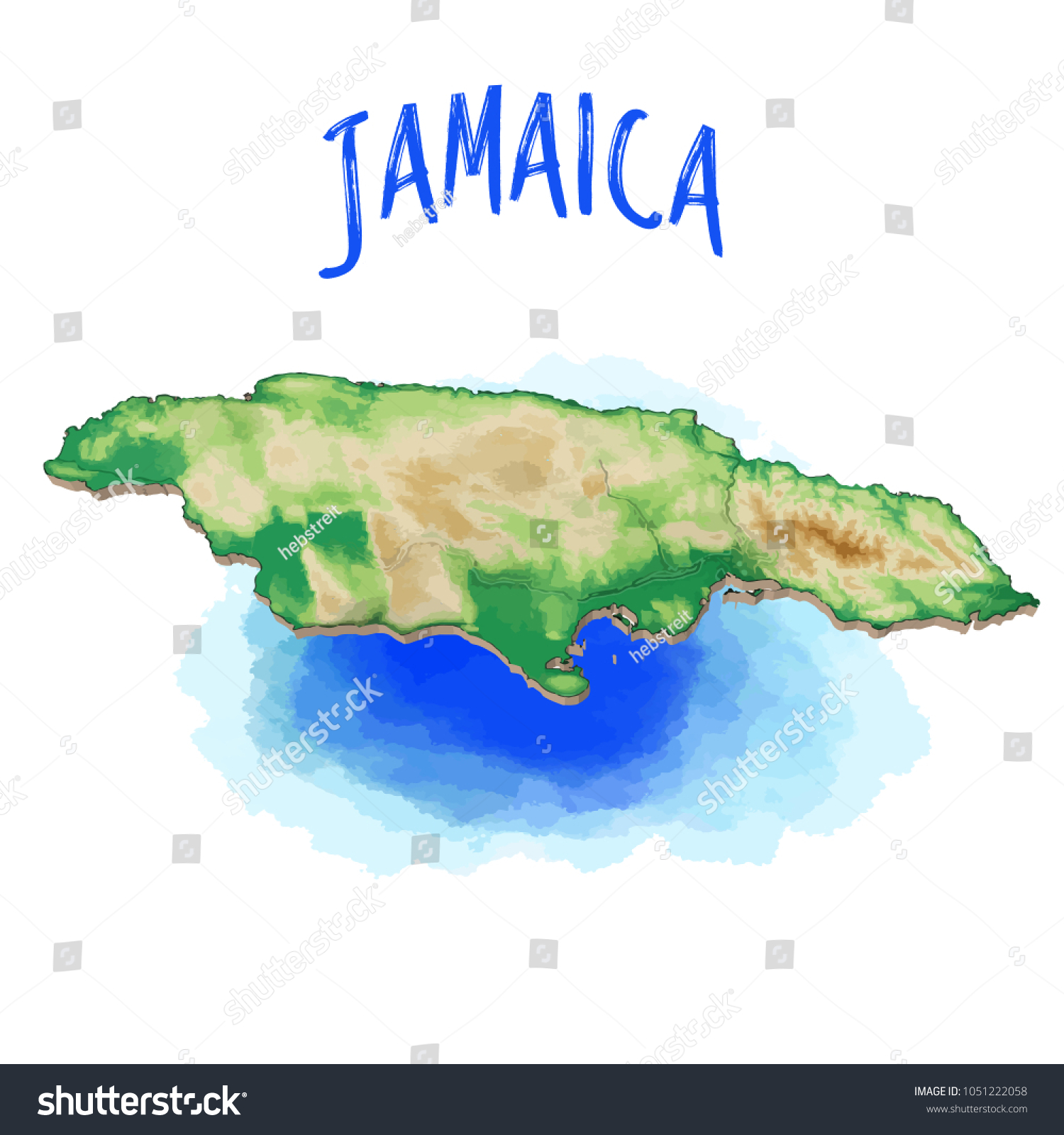 3 D Map Jamaica Caribbean Vector Illustration Stock Vector (Royalty ...