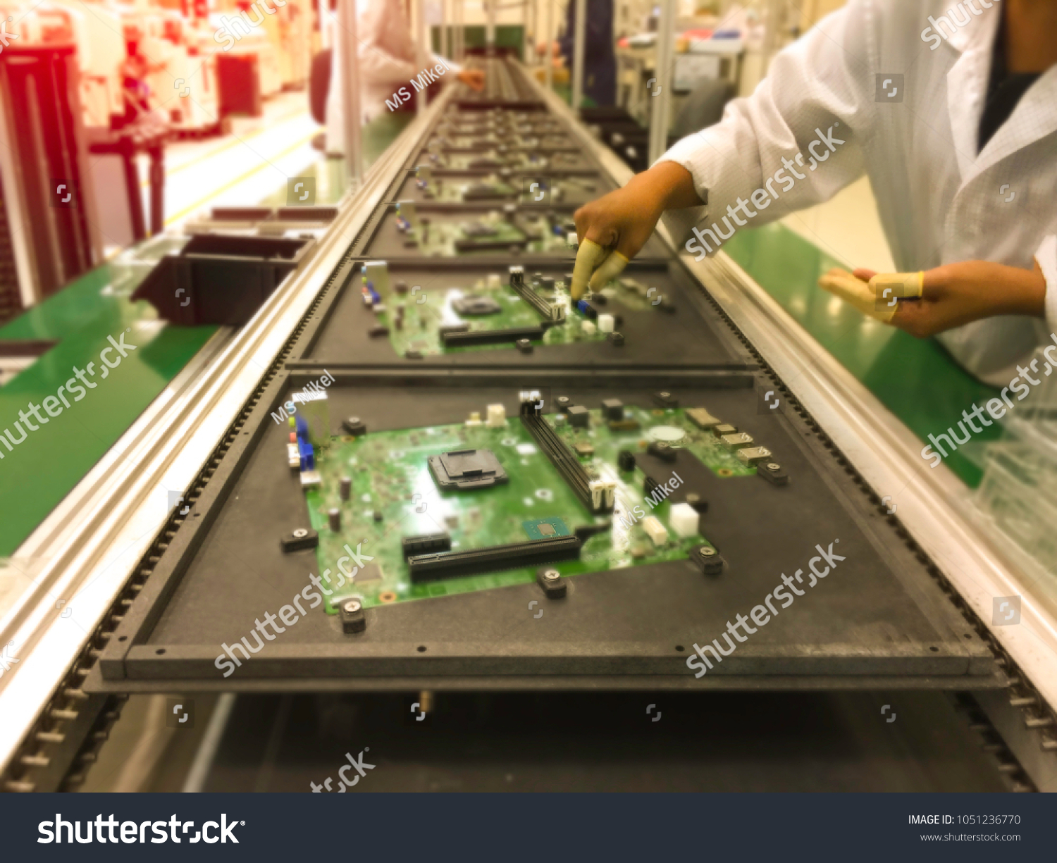 Image Not Clear Electronics Manufacturing Manual Stock Photo Edit Printed Circuit Board Printer Of Insertion Electronic Components On Printing Assembly