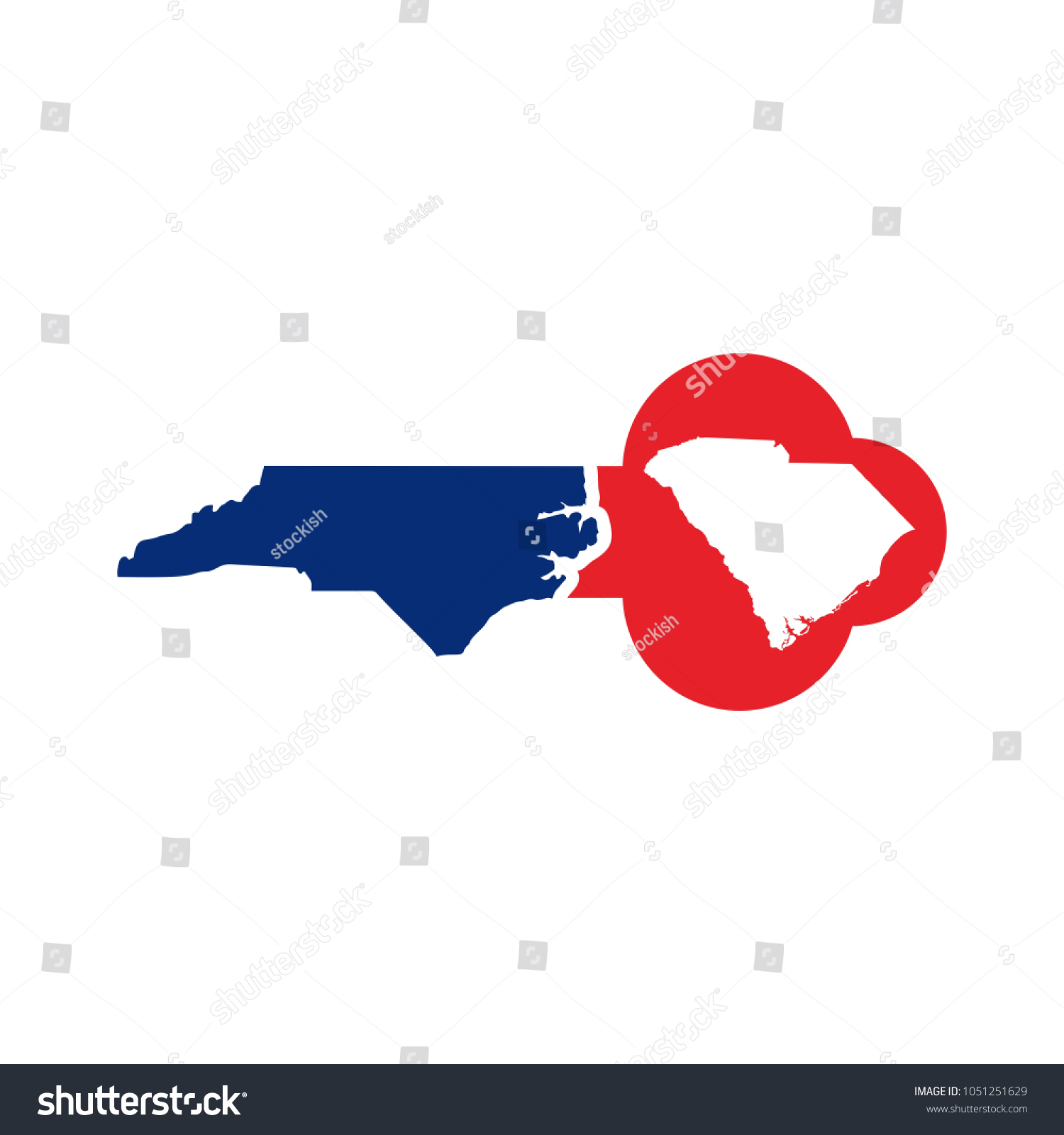 North South Carolina Map.South Carolina North Carolina Map Key Stock Vector Royalty Free