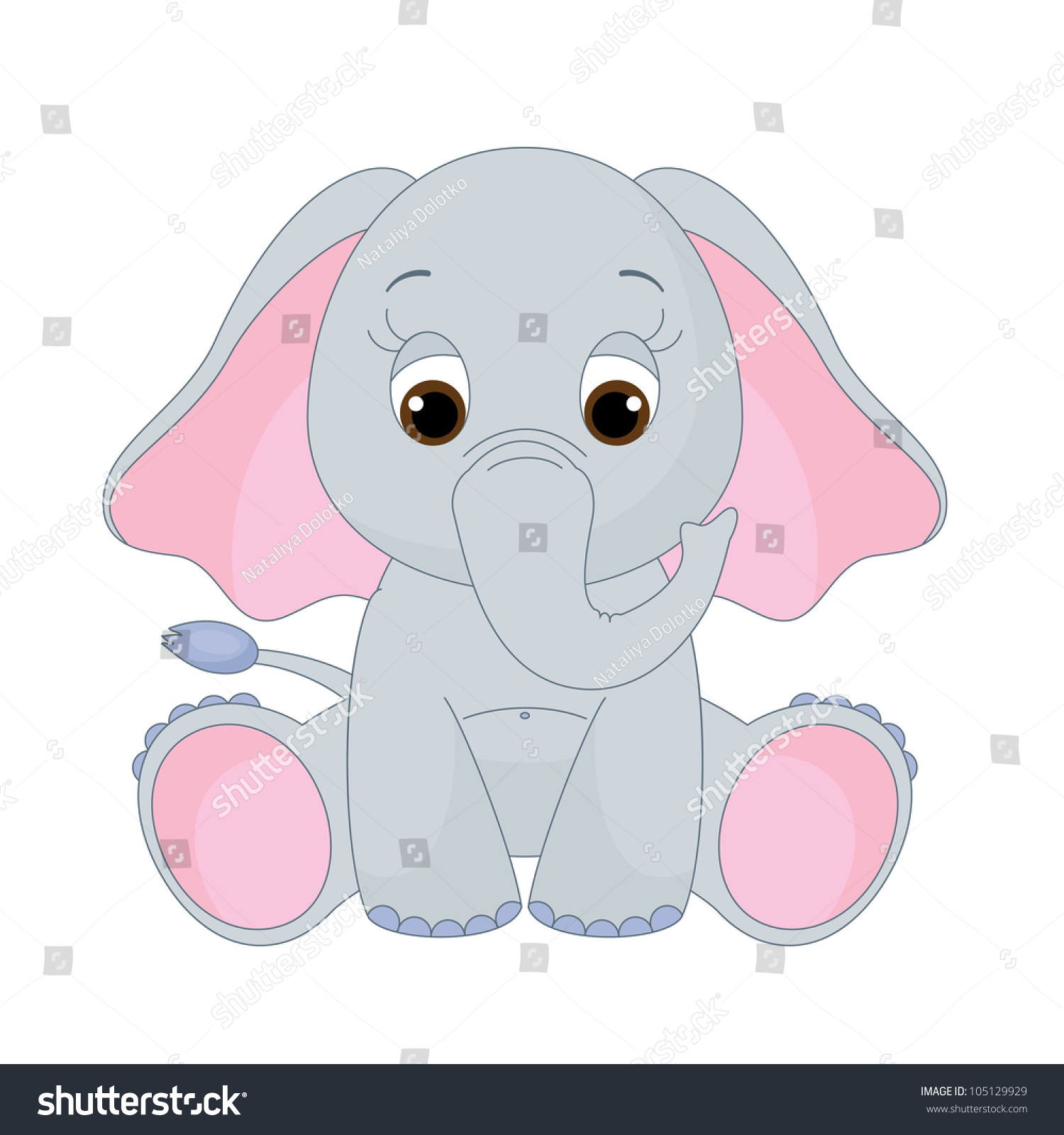Cute Baby Elephant Sitting Alone Isolated Stock Vector ...