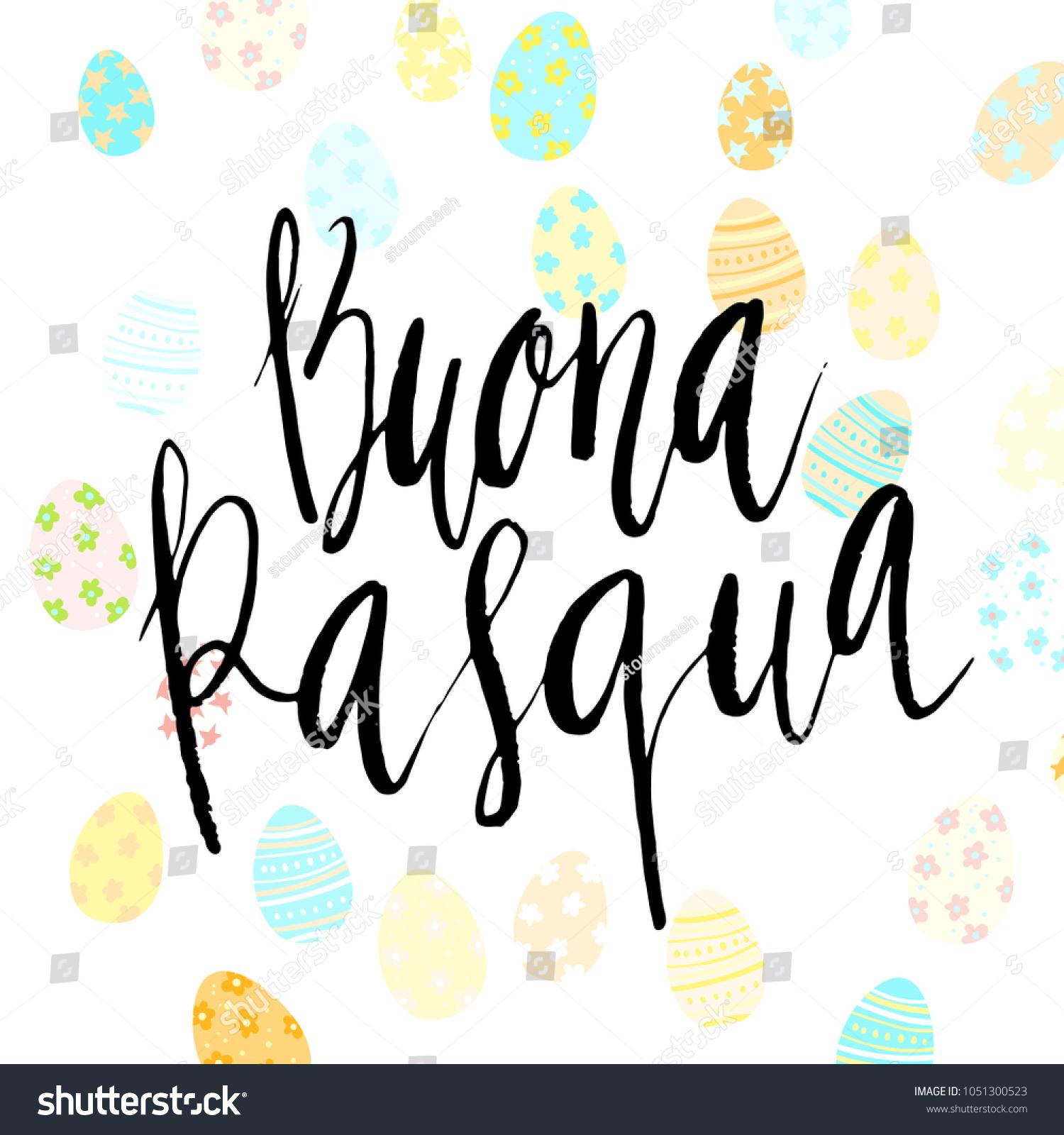 Happy Easter Buona Pasqua Italian Hand Stock Vector Royalty Free