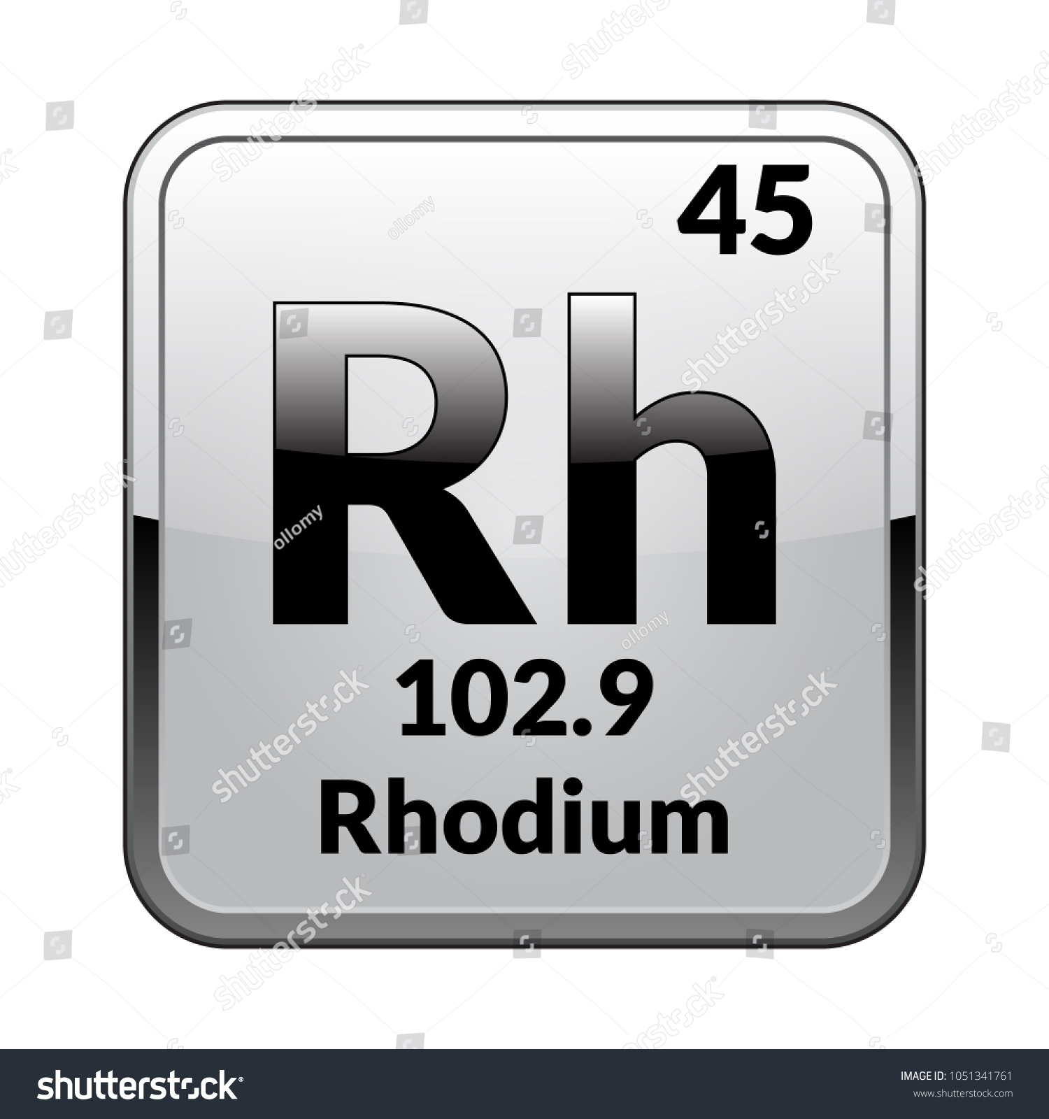 Rhodium symbolchemical element periodic table on stock vector rhodium symbolemical element of the periodic table on a glossy white background in a biocorpaavc Gallery