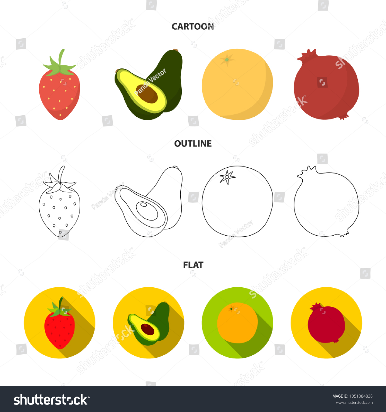 Strawberry Berry Avocado Orange Pomegranate Fruits Set Stock Vector Plant Diagram Pomegranatefruits Collection Icons In Cartoon