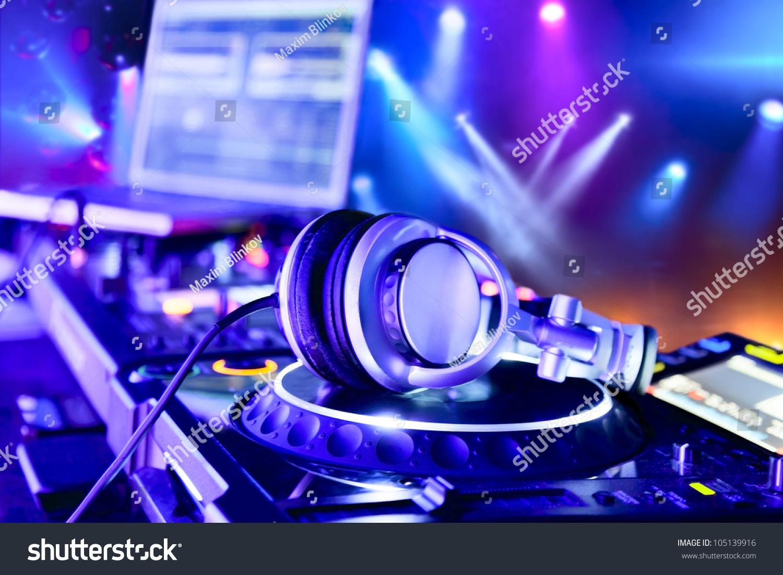 dj mixer headphones nightclub stock photo 105139916