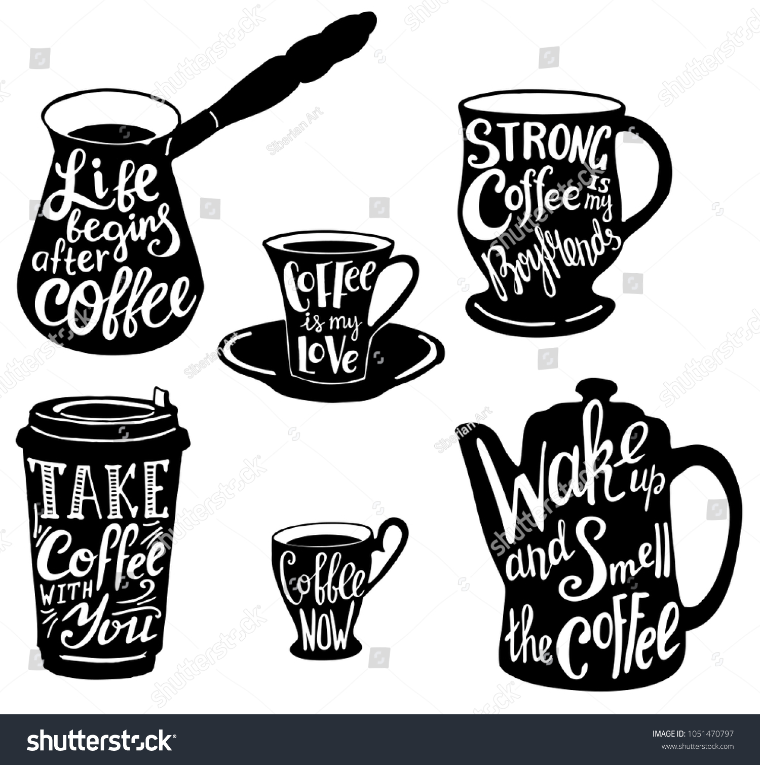 Coffee Set Cute Coffee Quotes Sayings Stock Illustration Royalty