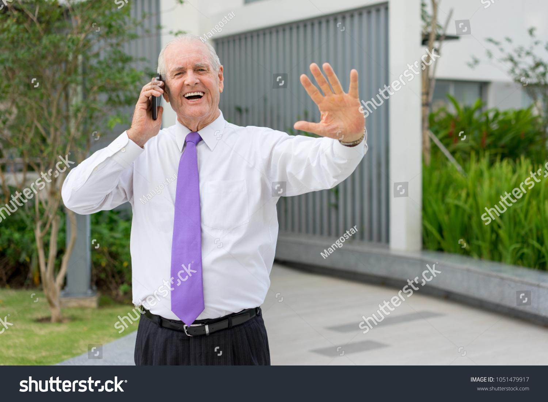 Happy Senior Man Formalwear Talking On Stock Photo Royalty Free