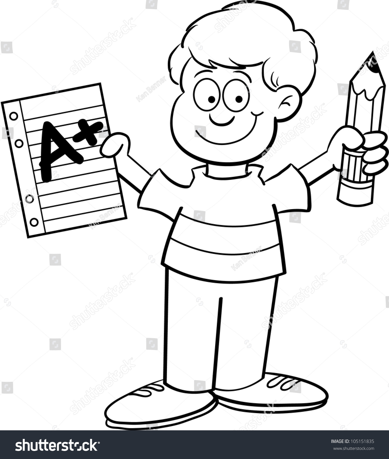 cartoon illustration boy holding paper pencil stock illustration