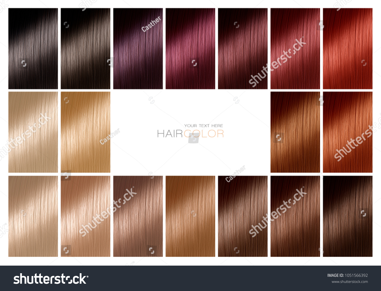 Color Chart Hair Dye Hair Color Stock Photo Edit Now 1051566392