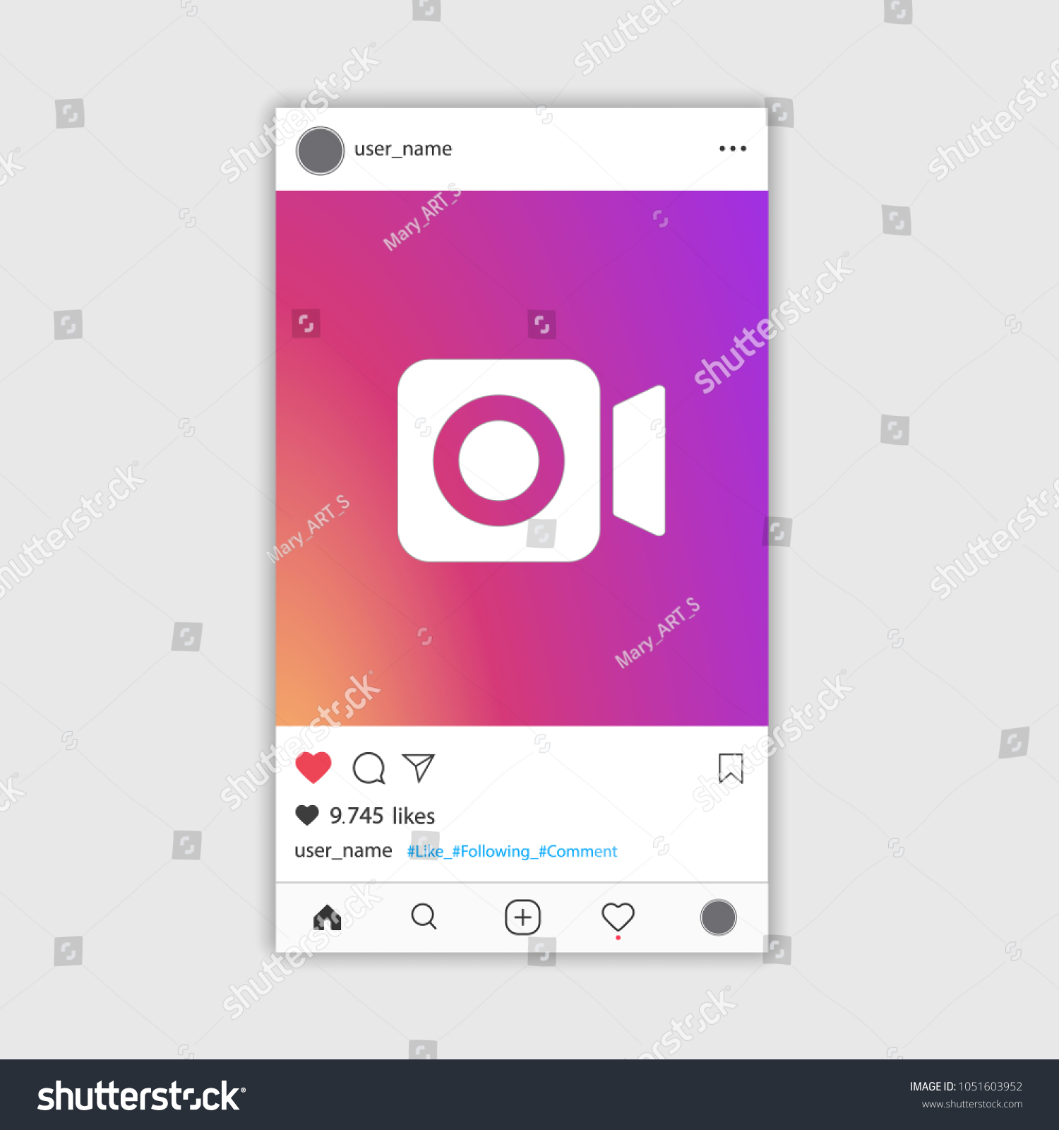 Social Media Instagram Video Frame Gradient Stock Vector 1051603952 ...