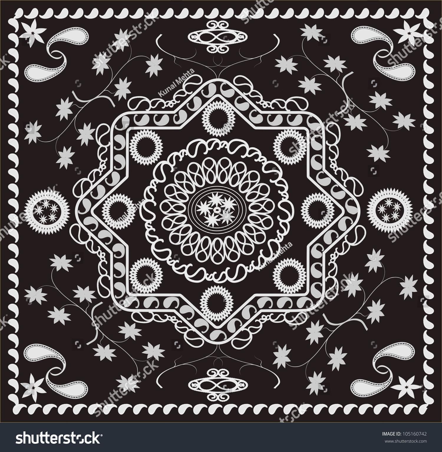 Paisley Floral Retro Geometric Pattern Bandana Stock Illustration ...