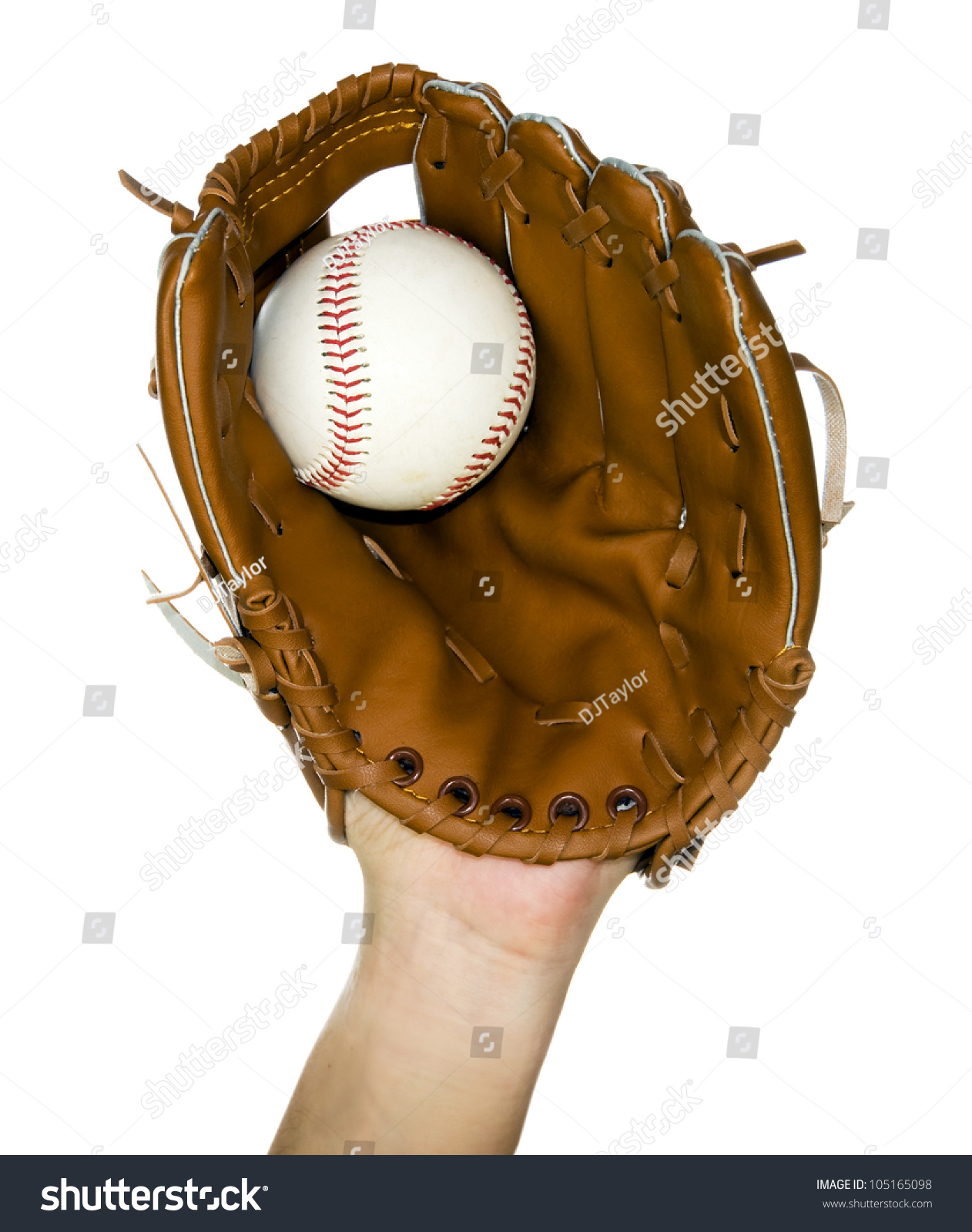 person catching baseball in leather baseball glove isolated in white #105165098