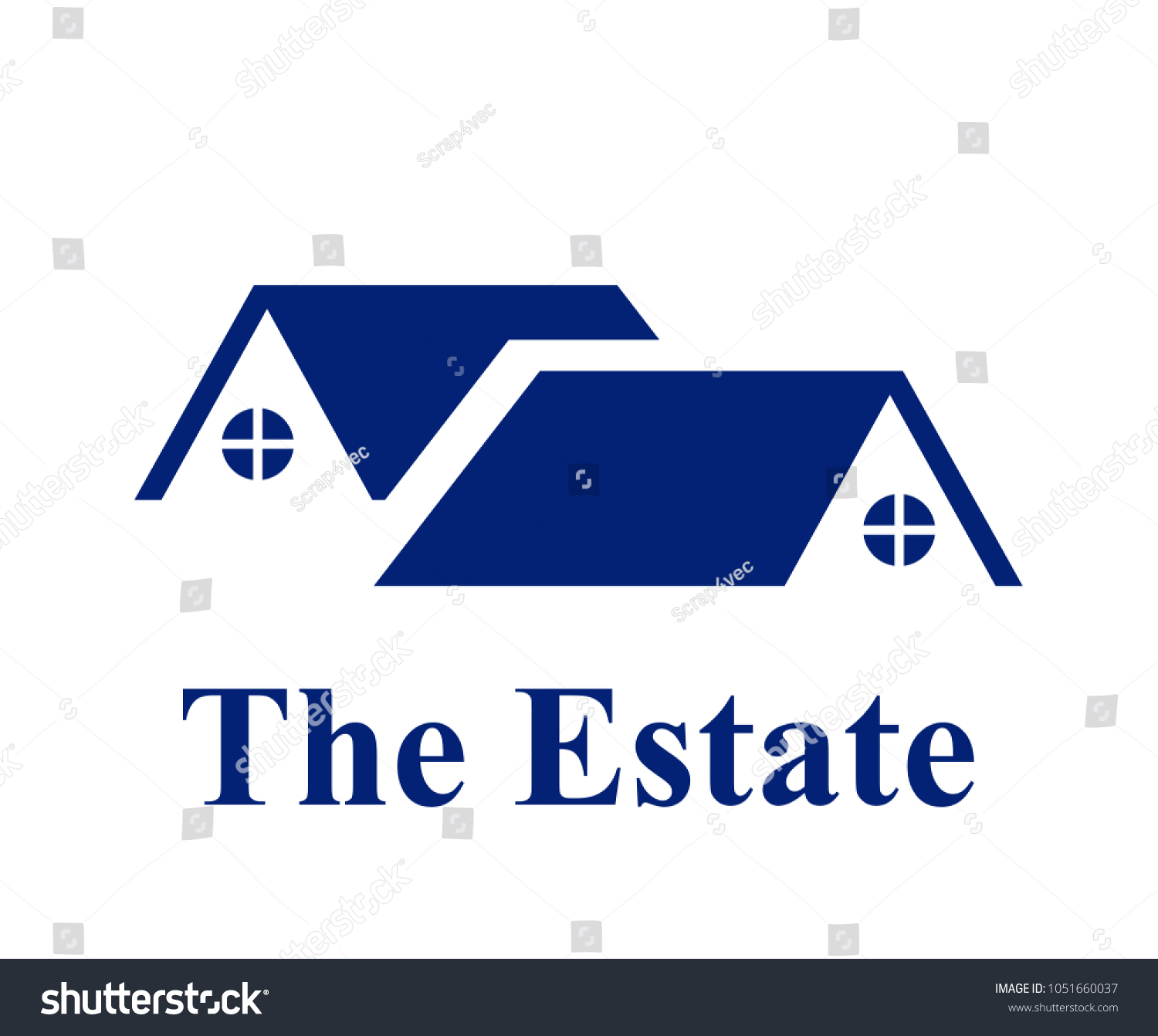 Two Blue Color Roof Residential House Stock Vector Royalty Free 1051660037