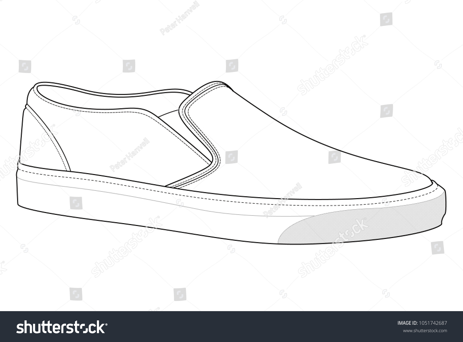 Slipon shoes vector illustration flat sketches stock vector slip on shoes vector illustration flat sketches template maxwellsz
