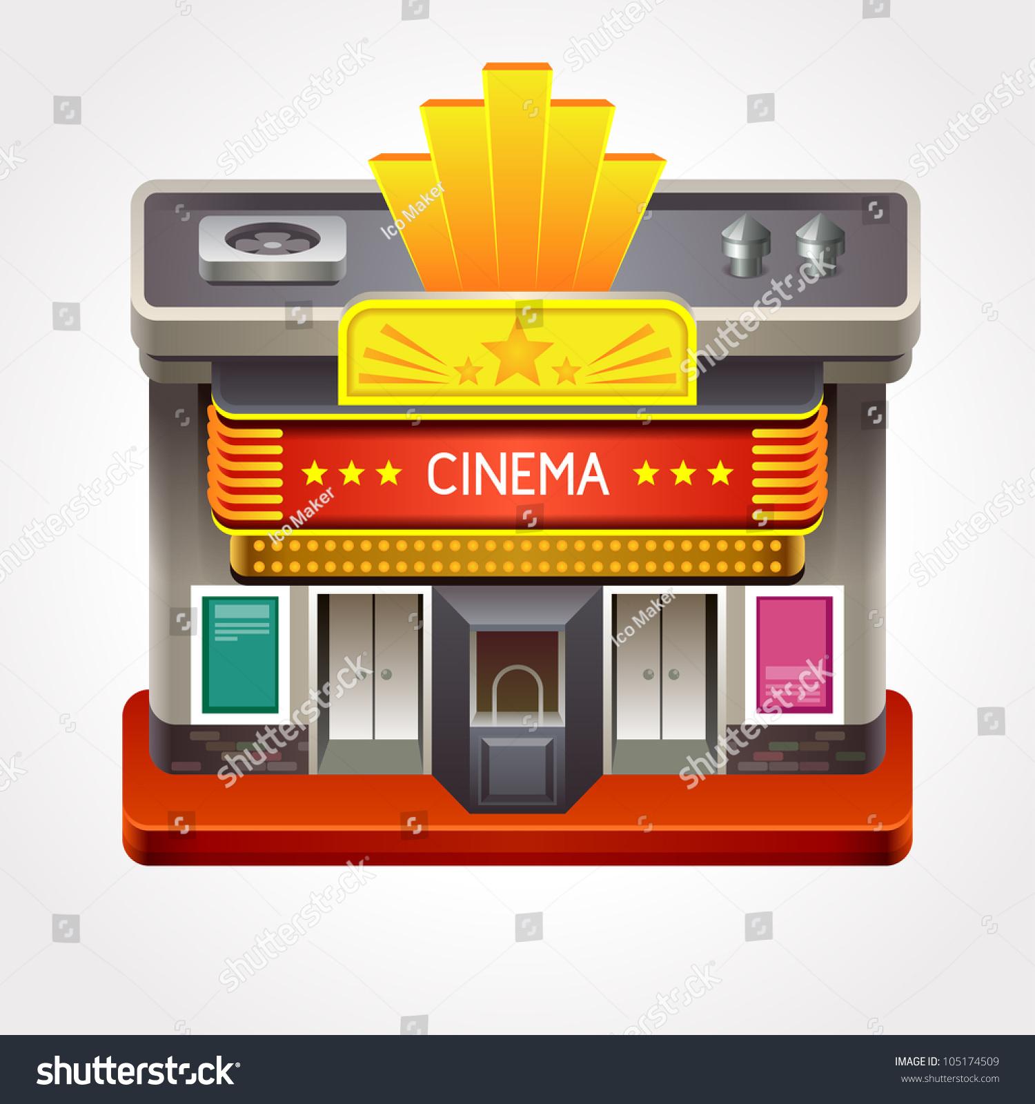 Illustration Cinema Theater Movie House Stock Vector