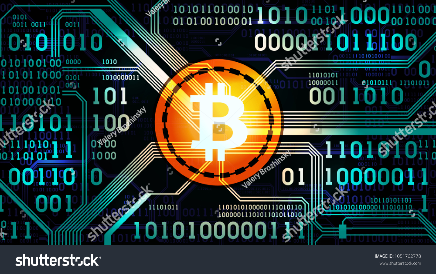 Symbol Crypto Currency Bitcoin On Background Stock Illustration Circuit Board Virus Text Image Of The Binary Code And Printed