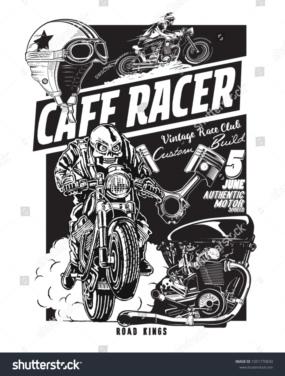 Vector Skeleton Rider Cafe Racer Motorcycle Stock Vector Royalty Free 1051770830