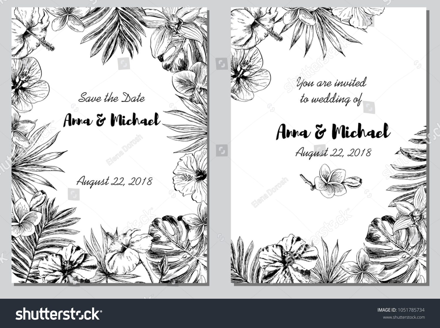 Wedding Invitation Save Date Tropical Flowers Stock Vector ...