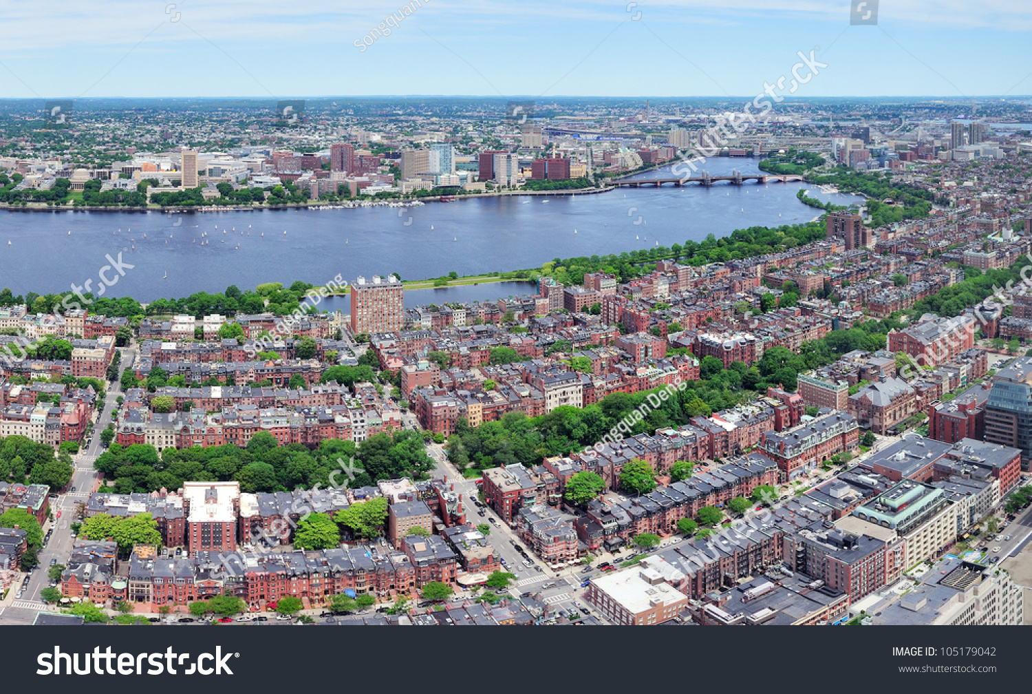 Charles River Aerial View Panorama With Boston Midtown