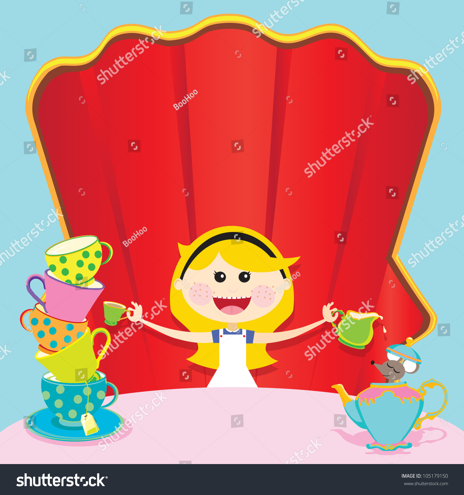 Alice Wonderland Unbirthday Party Invitations Room Stock Vector ...