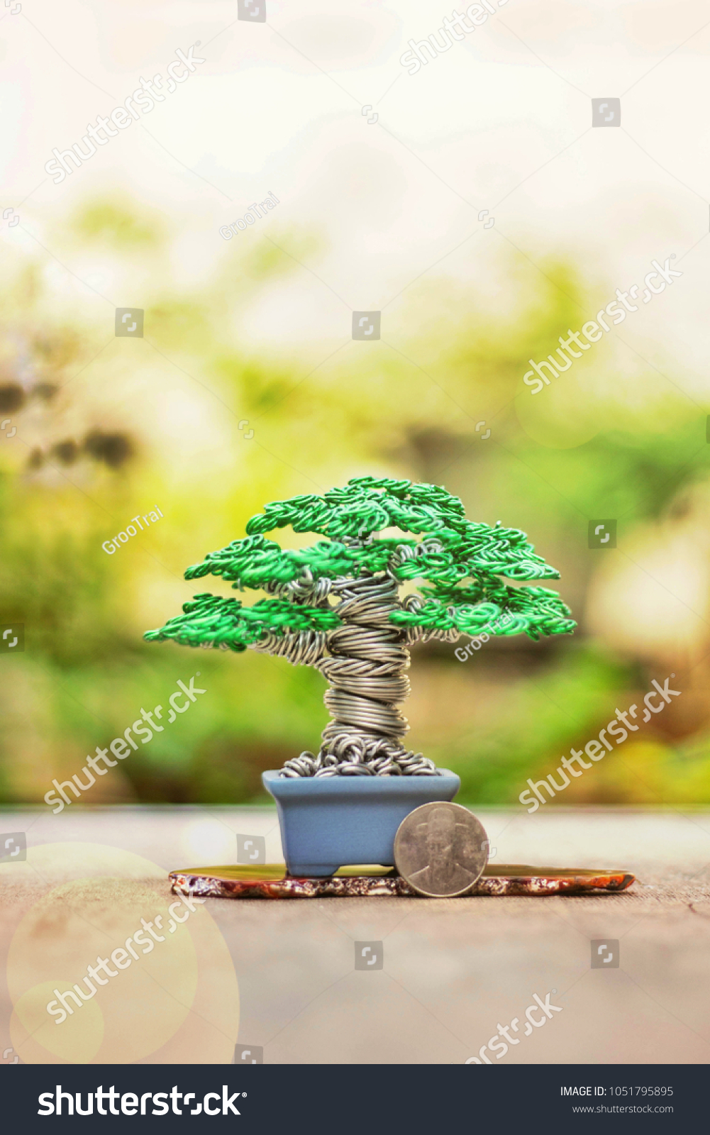 Handmade Wire Bonsai Tree Make White Stock Photo Edit Now Wiring Seedlings From And Green Colour Aluminum Be Twisted Roll Bending