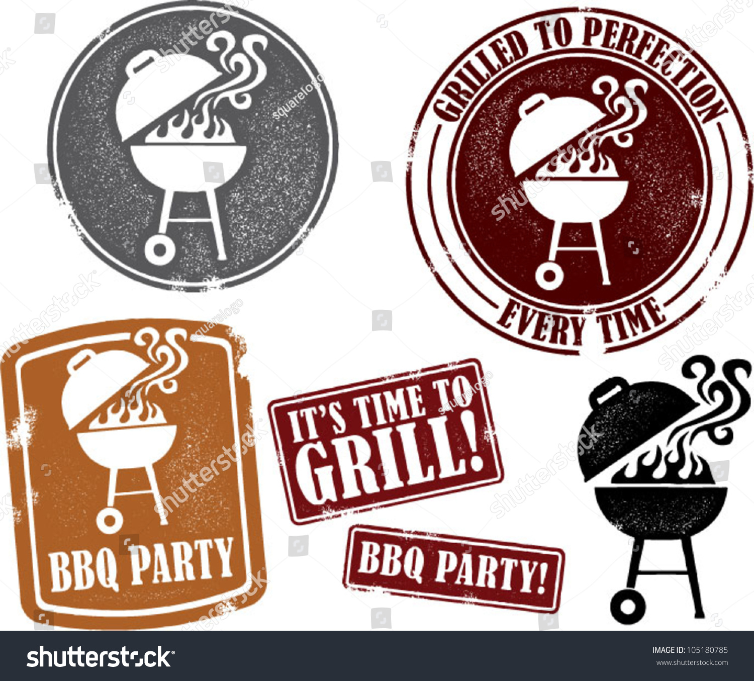 backyard bbq grilling party stamps stock vector 105180785