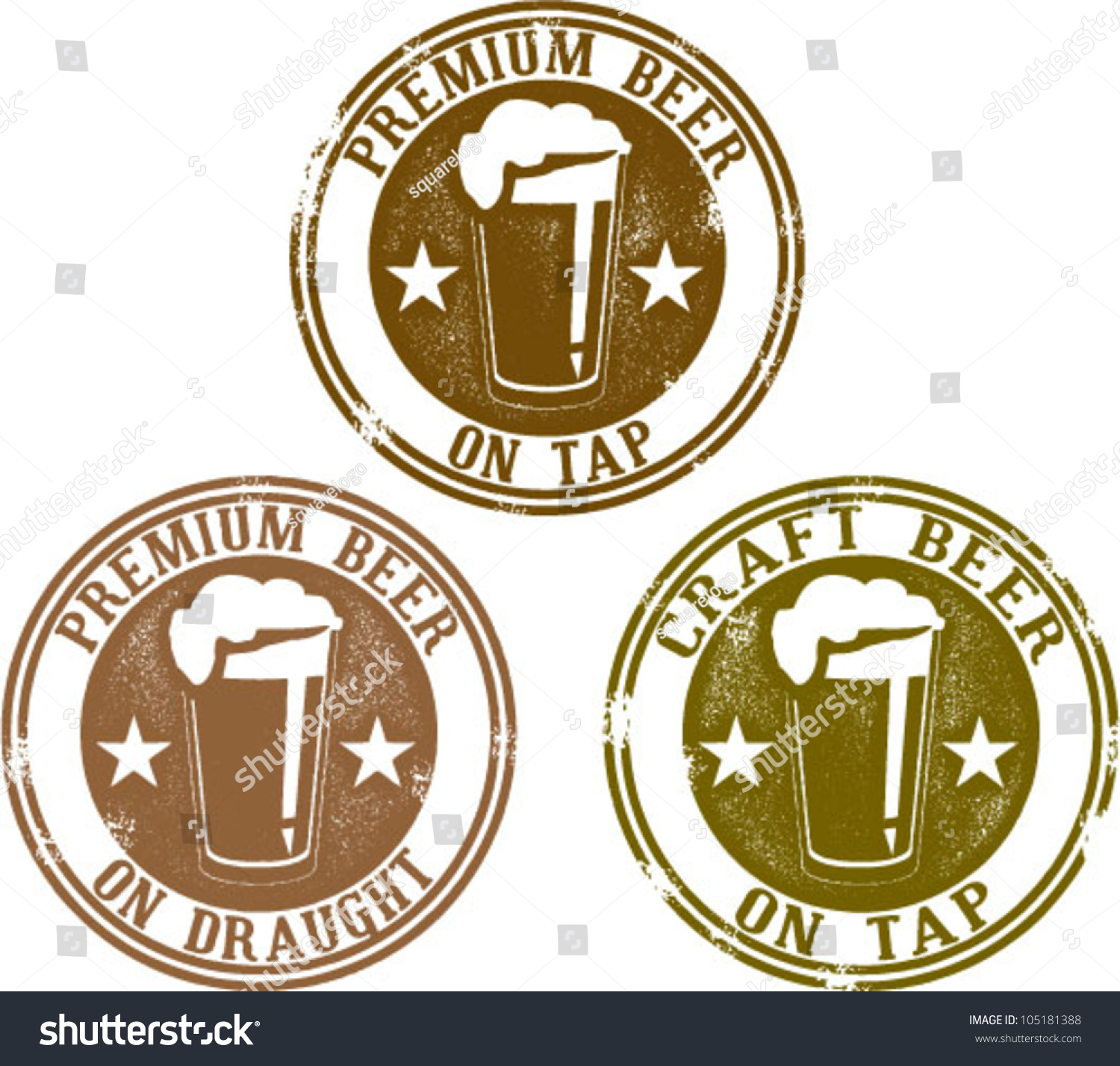 Premium Craft Beer On Tap Or Draught Stamps Stock Vector ...