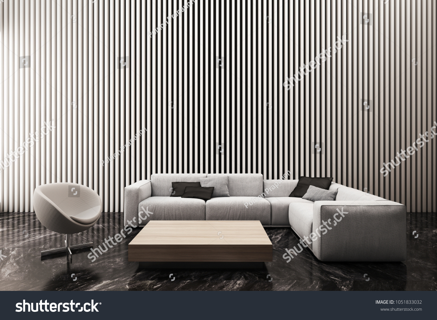 Modern living room decorate wall with white vertical battens pattern 3d rendering