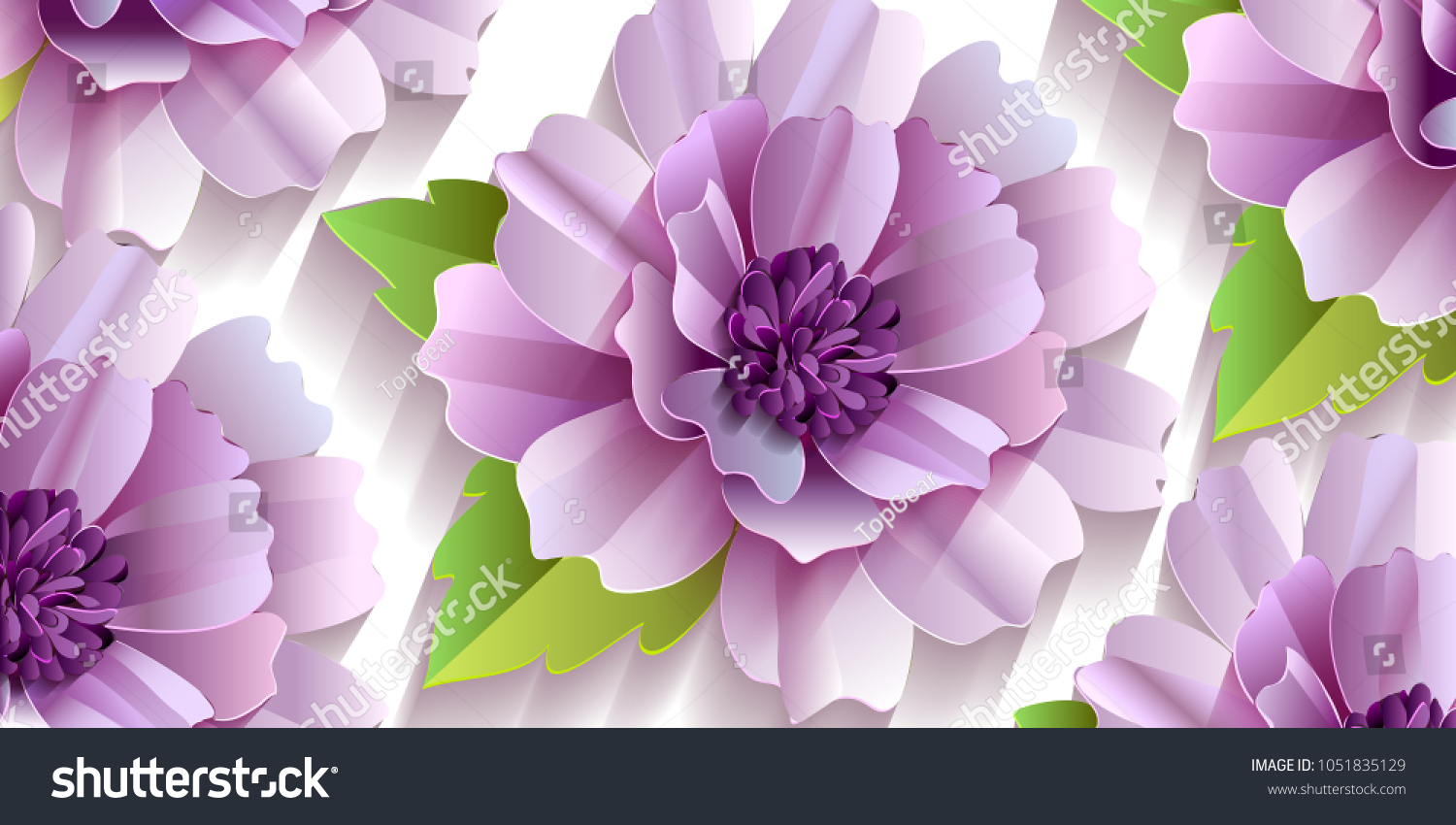 Quilling Paper Cut Flowers Leaves On Stock Vector Royalty Free