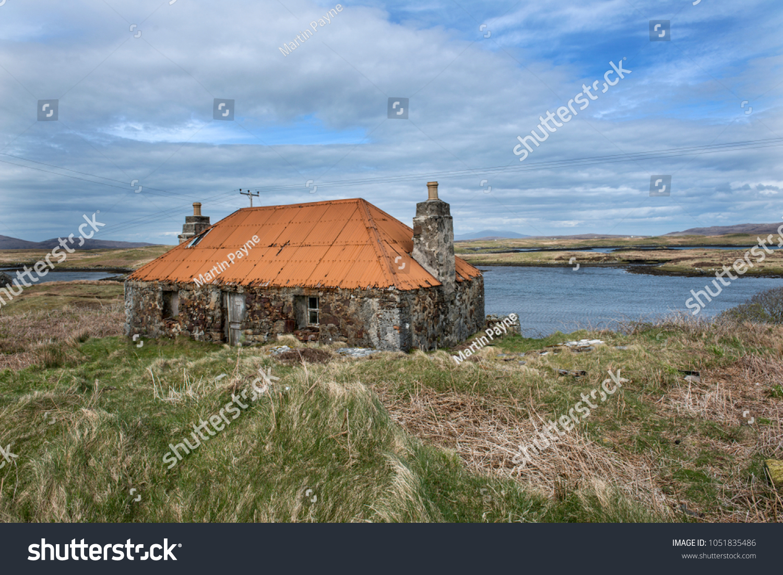 abandoned croft house on hebridean island stock photo (edit now