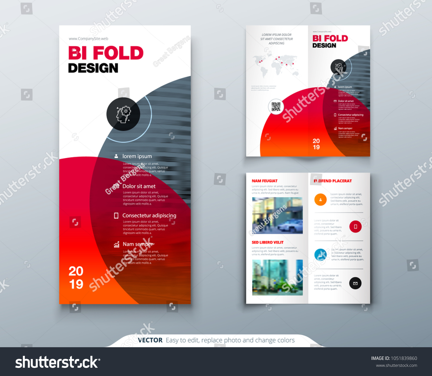 Bi Fold Brochure Design Business Template Stock Vector Royalty Free