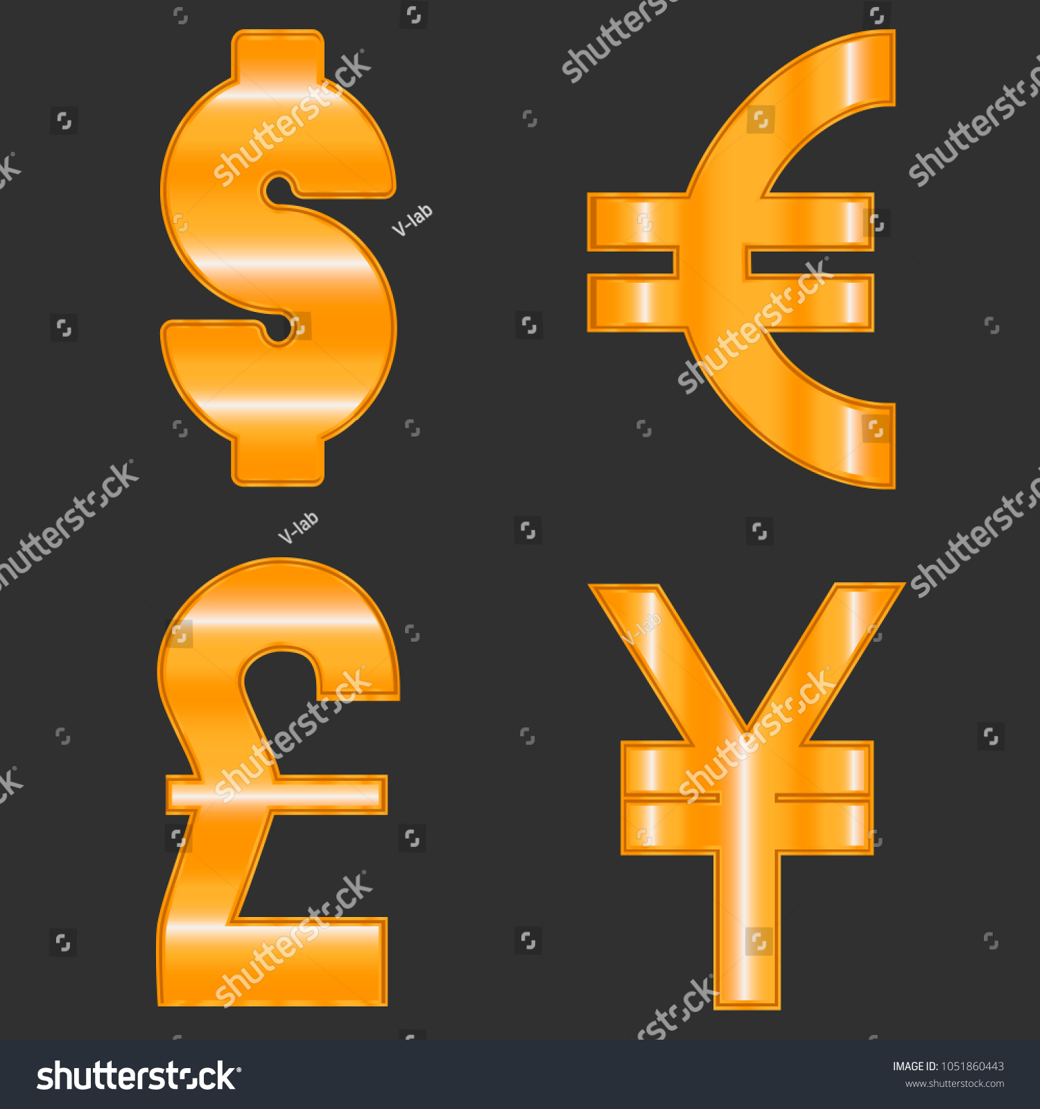 Currency exchange symbols most popular world stock vector currency exchange symbols of most popular world currency dollar euro pound and yen biocorpaavc Images
