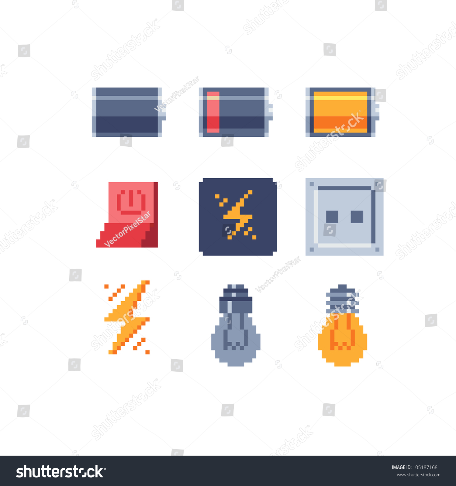 Energy Symbols Pixel Art Icons Electric Stock Vector Royalty Free Wiring Diagram Battery Symbol Further Light Bulb Circuit And Low Full Charge