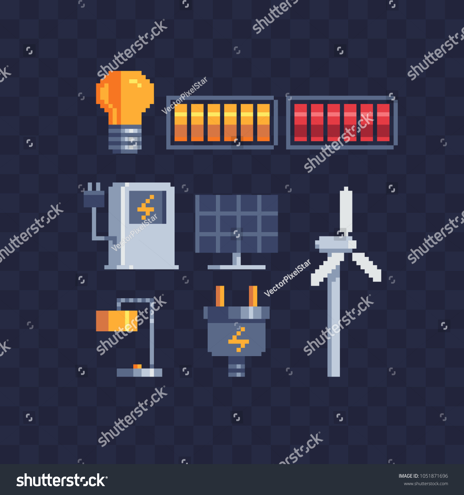 Electricity Energy Symbols Pixel Art Icons Stock Vector Royalty Wiring Diagram Battery Symbol Further Light Bulb Circuit Ources Of Clean Renewable Sun Charging Stations And Windmills