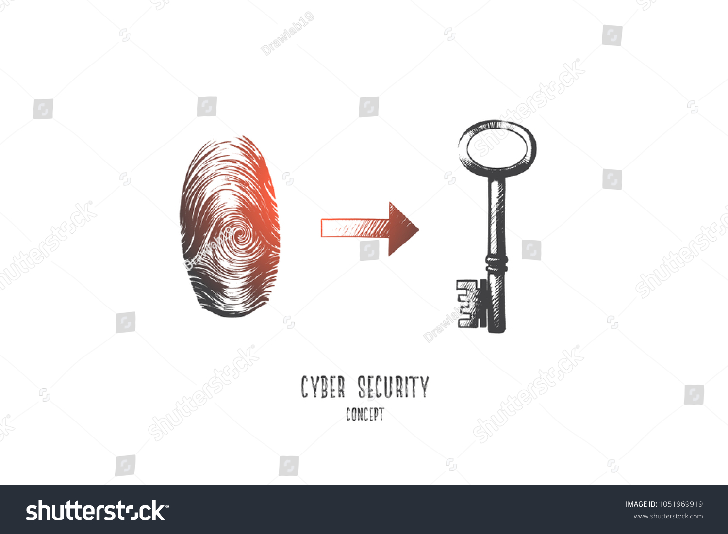 Cyber Security Concept Hand Drawn Digital Stock Vector Royalty Free