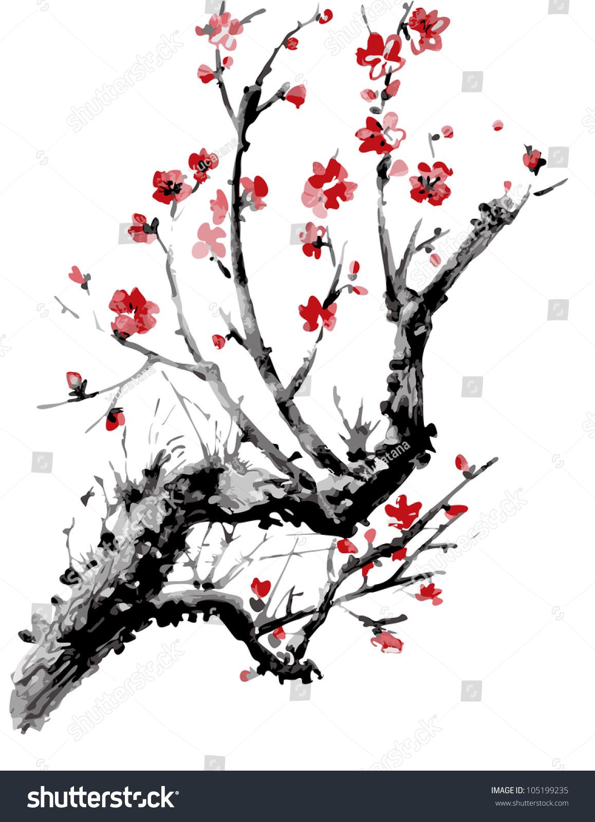 Realistic Sakura Blossom Japanese Cherry Tree Stock Vector .