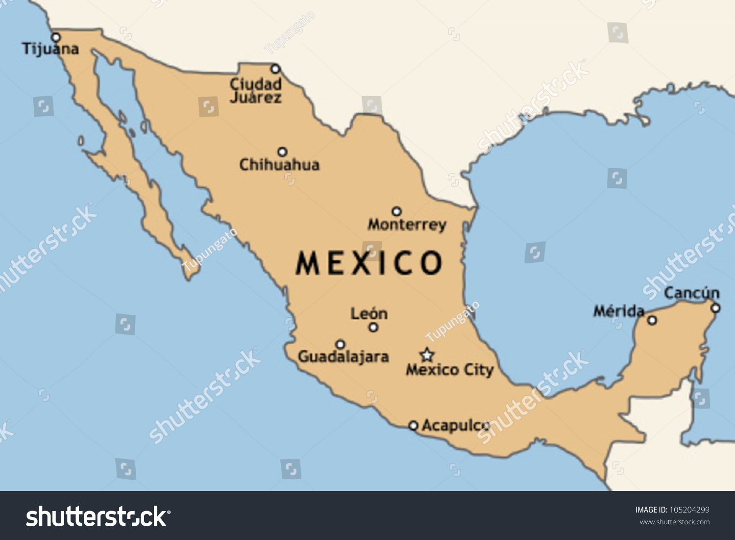 Mexico Map Major Mexican Cities Mexico Stock Vector - Map of mexico