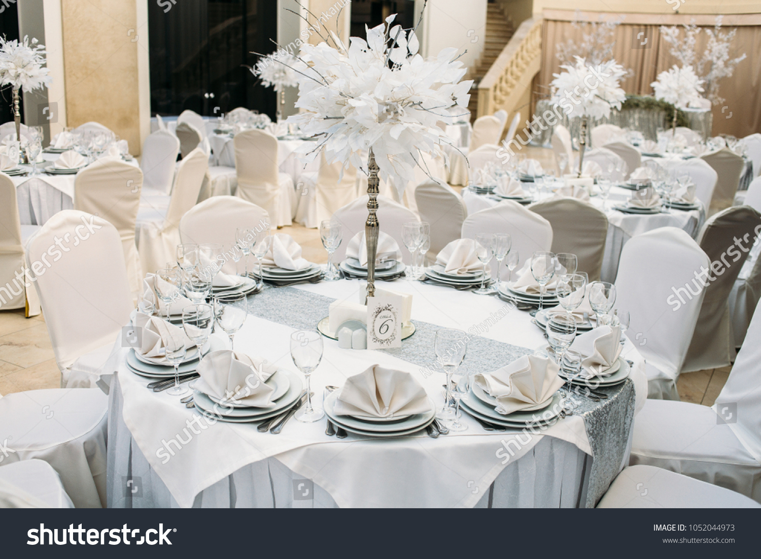 Little Round White Tables Decorated Grey Stock Photo & Image ...