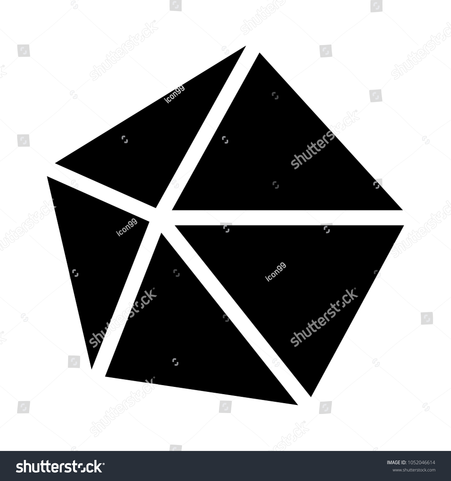 decahedron convex shape stock vector royalty free 1052046614