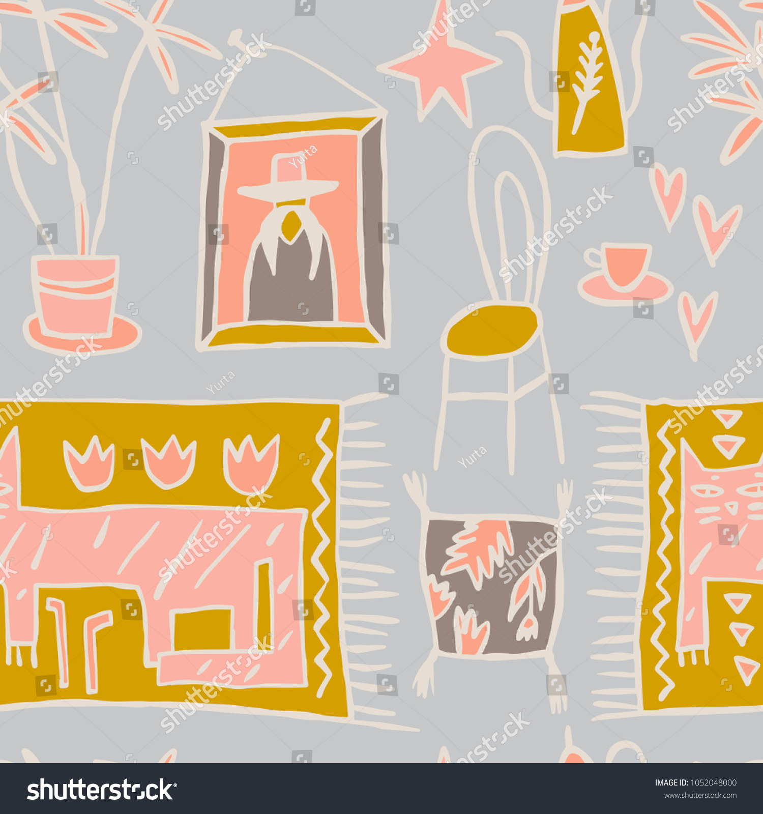 Stylish pattern in the tribal style with interior design elements artistic hand drawn seamless background