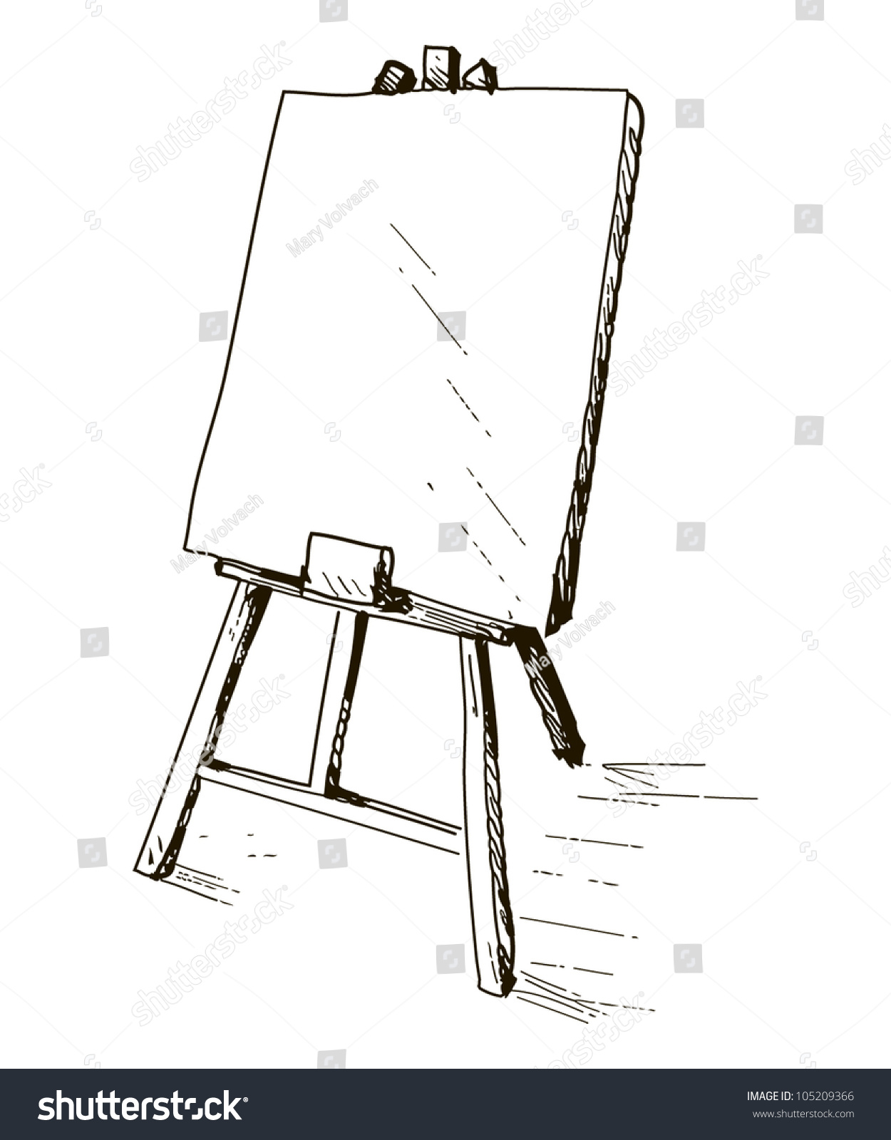 illustration easel artist stock vector royalty free 105209366