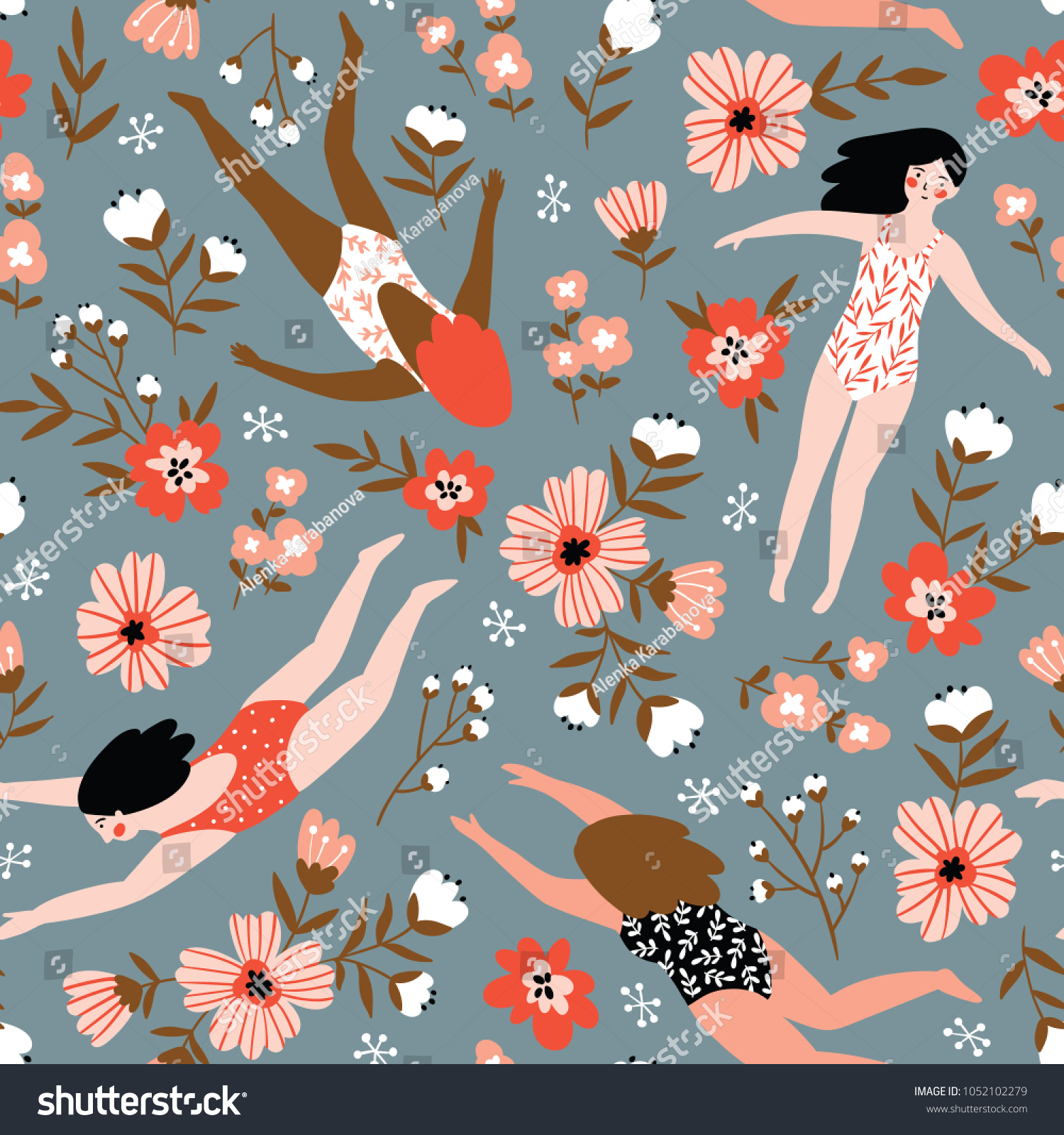 Repeated background with figures of young girls in swimsuits of different nationalities. Cute vector illustration in hand drawn style. Swimming collection. Seamless floral pattern.