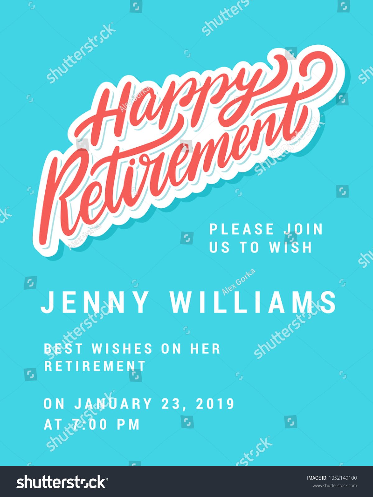 Happy Retirement Party Invitation Template Stock Vector (2018 ...