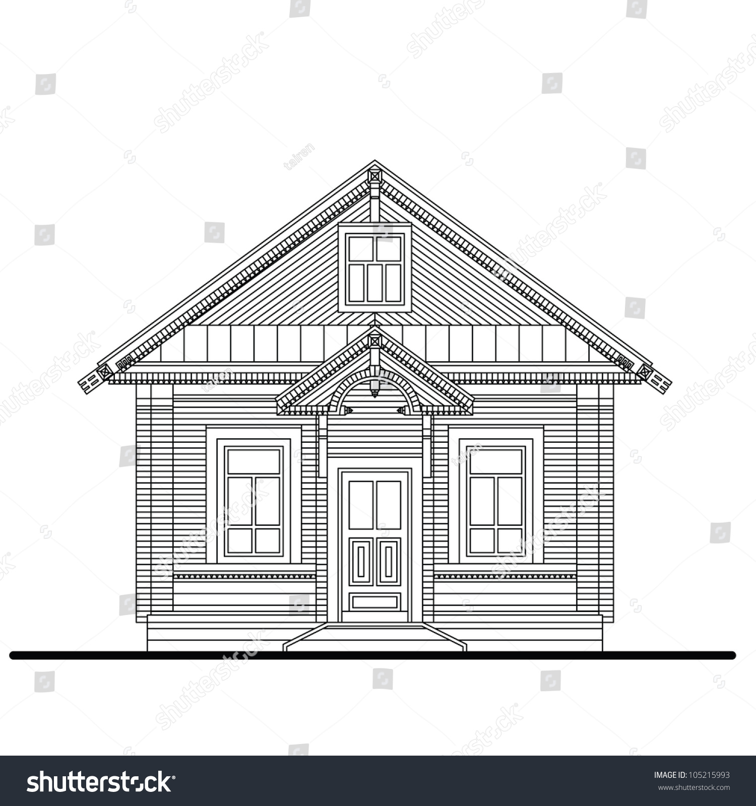 Drawing of a front facade of small wooden house with entrance