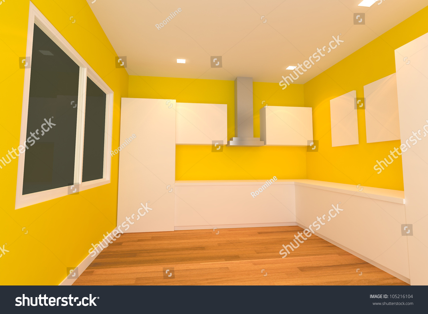 Empty Kitchen Wall Empty Interior Design For Kitchen Room With Yellow Wall Stock