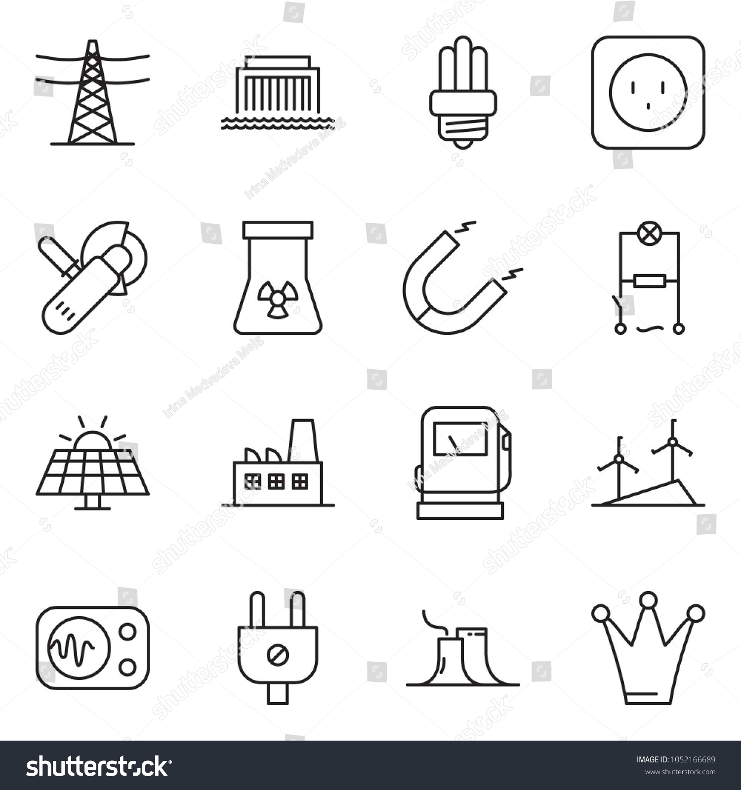Thin Line Icon Set Wiring Vector Stock Royalty Free Hydroelectric Power Plant Schematic Diagram Angle Grinder Machine Sun Panel Gas