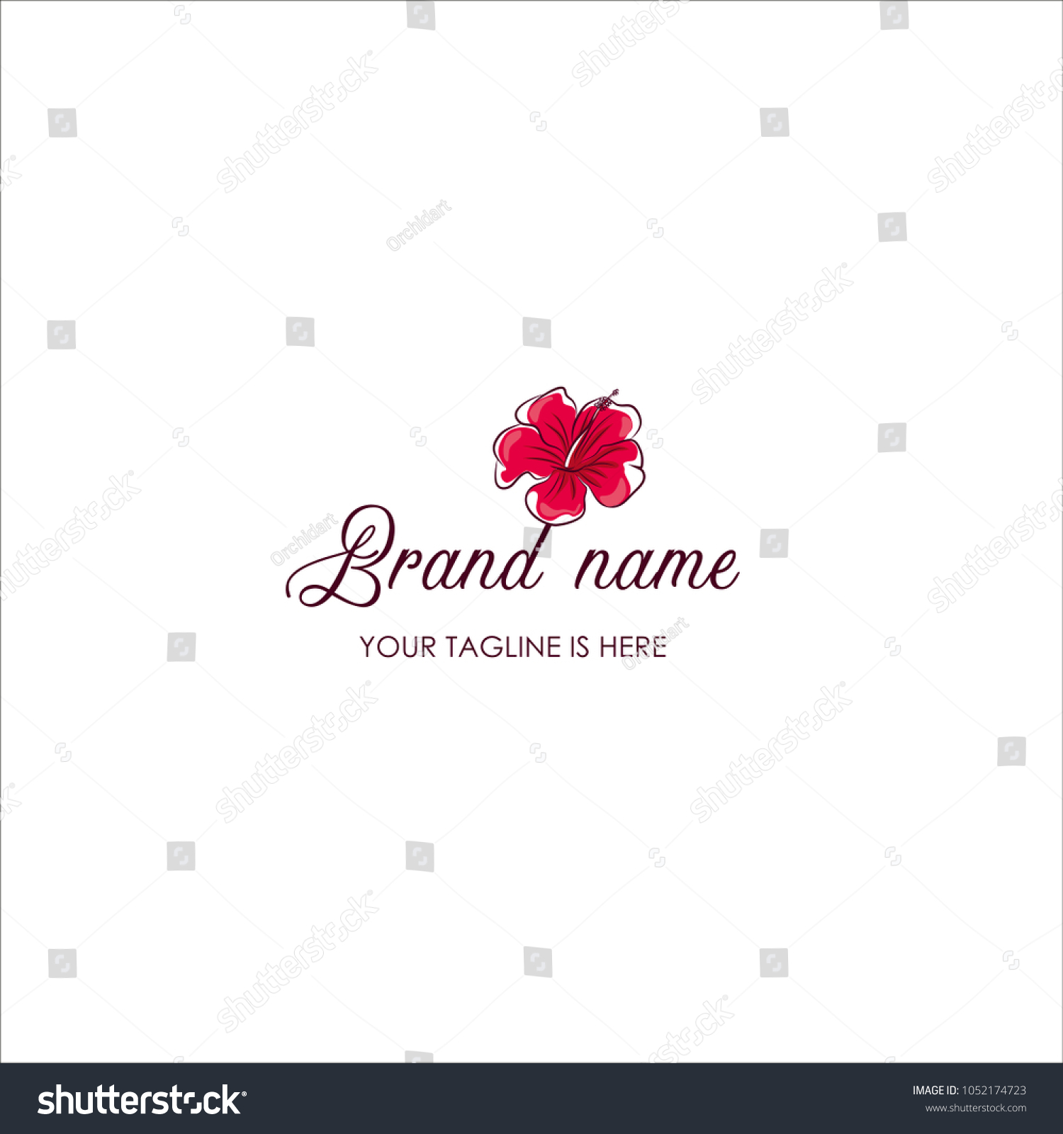 Hand Draw Hibiscus Flower Logo Template Stock Vector 1052174723
