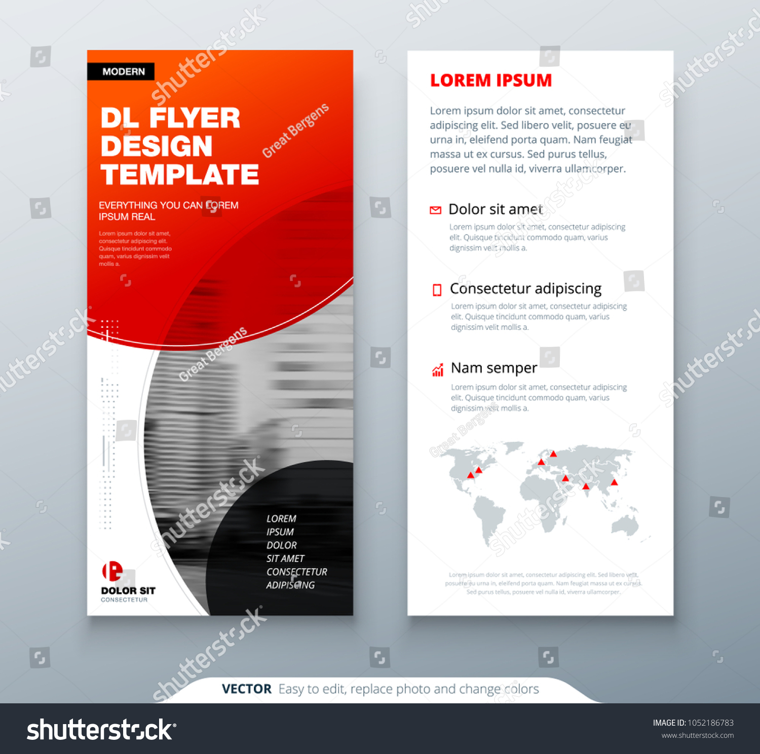 Dl Flyer Design Red Business Template Stock Vector Royalty Free 1052186783
