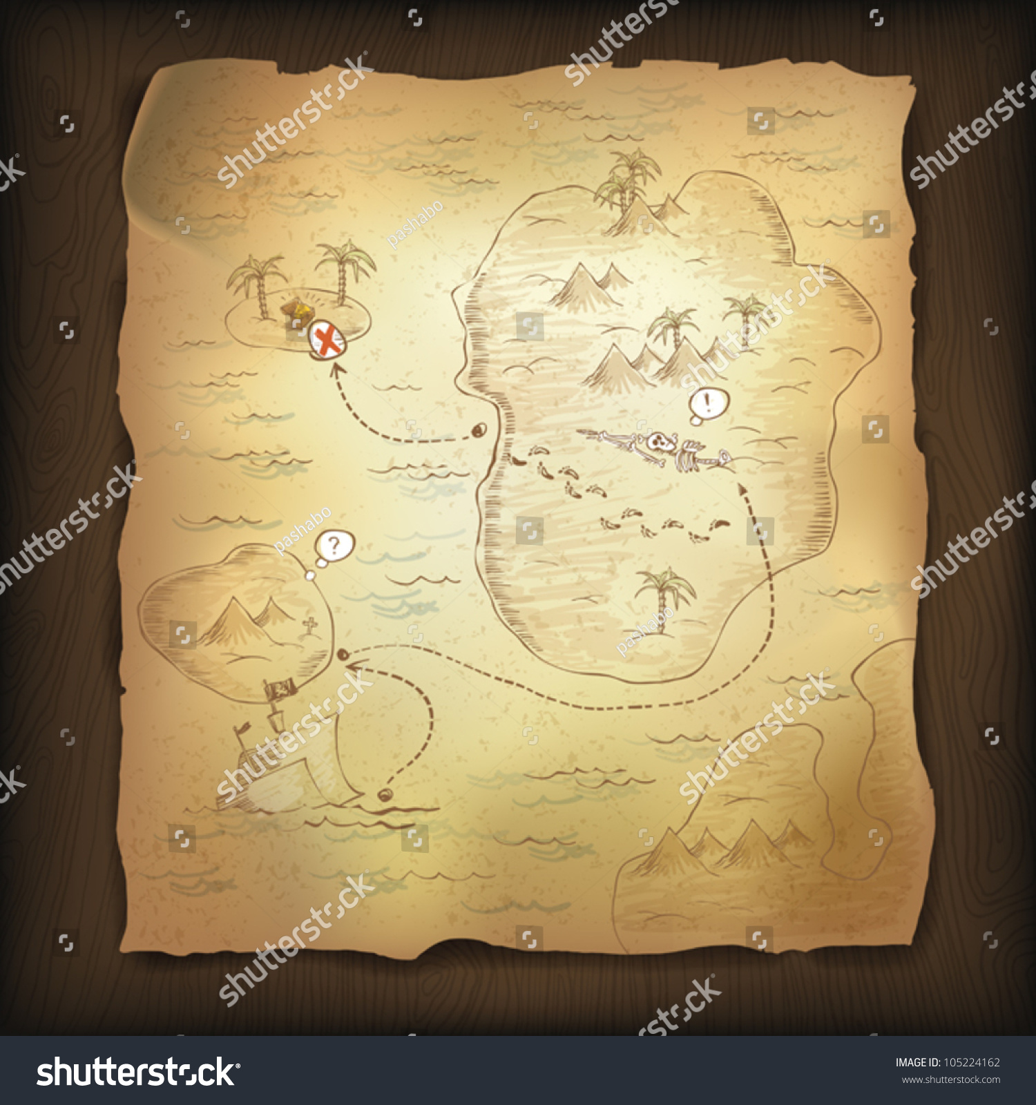 Treasure Map On Wooden Background Vector Stock Vector
